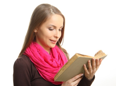 Young woman reading a book, isolated Stock Photo
