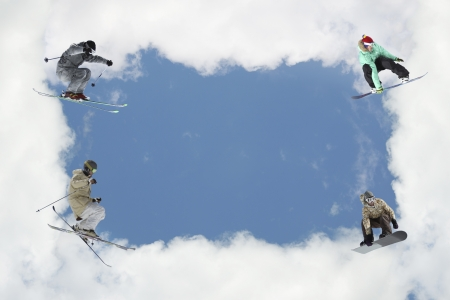 Cloudy frame with skiers in blue sky photo