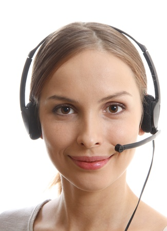 Call Center Woman with Headset Reklamní fotografie