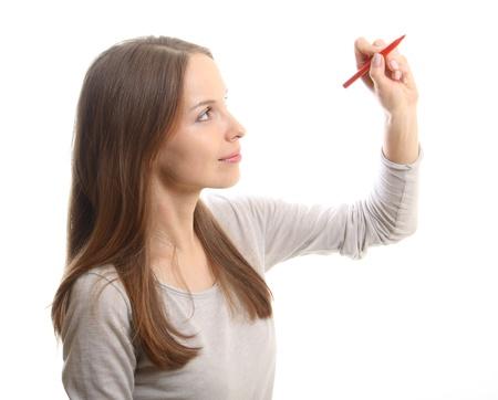 mujer joven con la pluma Foto de archivo