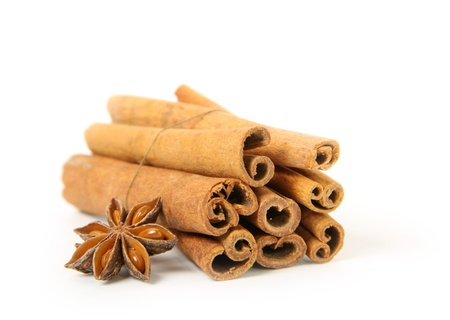 cinnamon and star anise, isolated on white photo