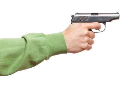 gun in the man s hand