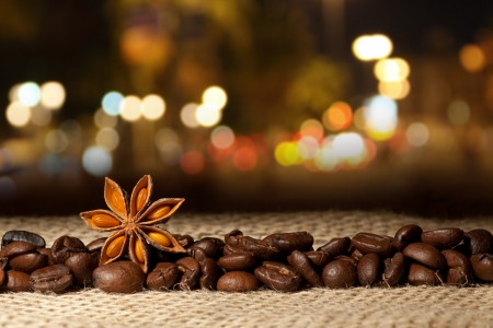 Coffee and Star Anise on sackcloth on the night photo