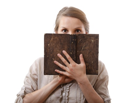 woman holding old book, isolated photo