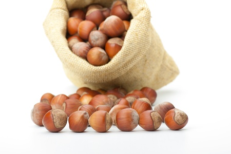 hazelnuts in a burlap bag on white background Stock Photo - 20209789