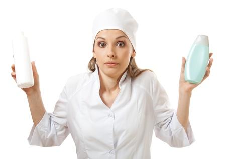 doctor holding new medicine in plastic bottle  photo