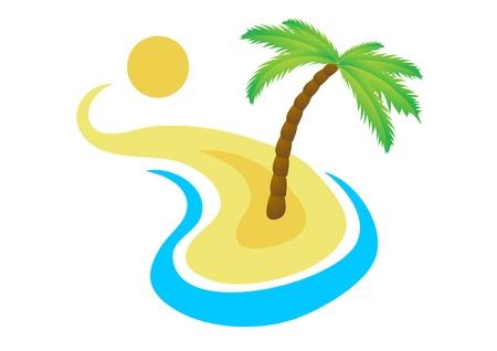 paradisiacal: Tropical palm on island with sea  Illustration