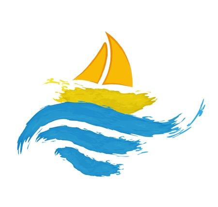 水にセーリング ボート  イラスト・ベクター素材