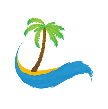 paradisiacal: Tropical palm on island with sea. Vector icon.