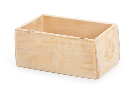 decorative wooden box, isolated on white background photo