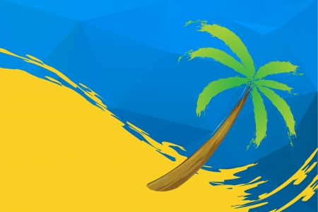 paradisiacal: Tropical palm on the beach with sea  Illustration