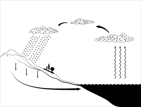 water cycle: schema of the water cycle in nature
