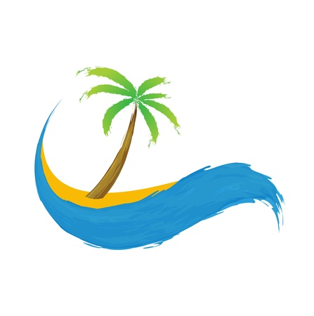 paradisiacal: Tropical palm on island with sea icon.