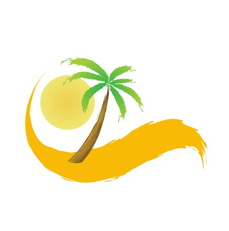 palm tree in the desert,  illustration Vector