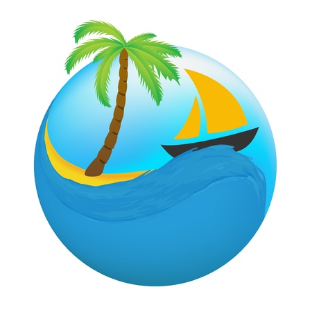 recreational vehicle: Sailing boat on the water, vector icon