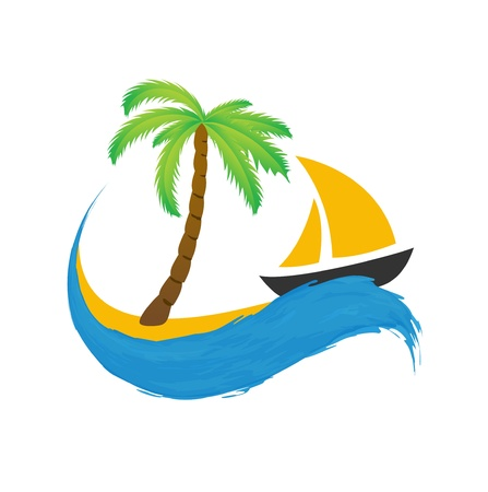 Sailing boat and palm on the water, vector icon photo