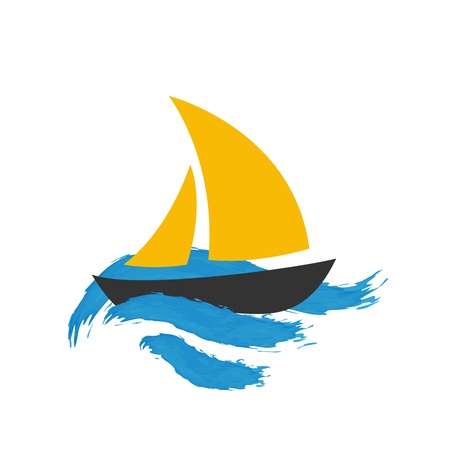 Sailing boat on the water, vector icon photo