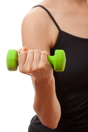 strong arm: Woman doing fitness exercise with dumbbells, isolated