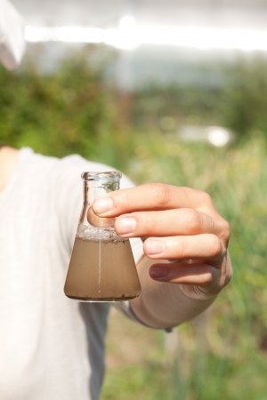 groundwater: researcher testing the water quality
