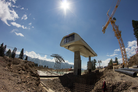 ropeway: construction of the cable way in the mountains (Krasnaya Polyana, Sochi, Russia)