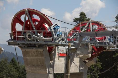 poleas: Poleas mecánicas telesilla en la estación de esquí
