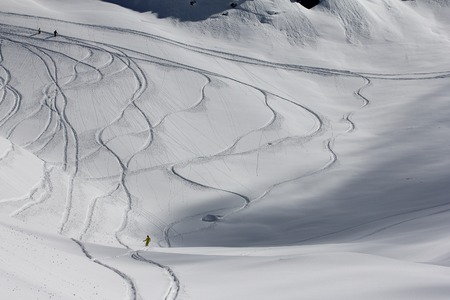 Freeride, tracks on a slope.