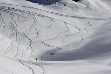 freeride: Freeride, tracks on a slope.