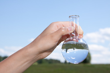Water Purity Test, liquid in laboratory glassware Stock Photo
