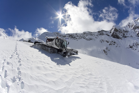 snow grooming machine: Ratrak, grooming machine, special snow vehicle Stock Photo