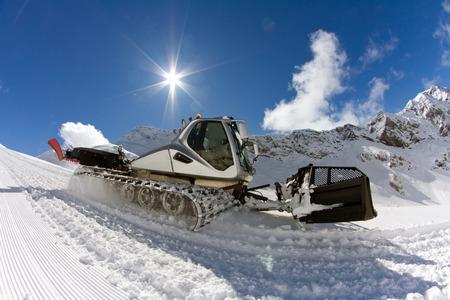 snowcat: Ratrak, grooming machine, special snow vehicle Stock Photo