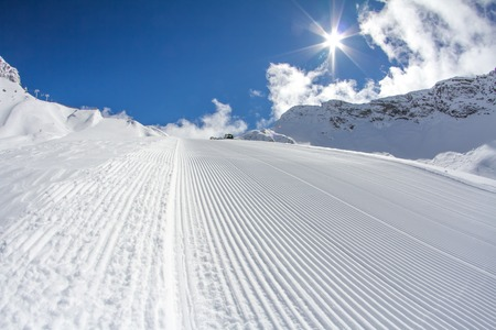 perfectly groomed empty ski piste Stock Photo - 28179448