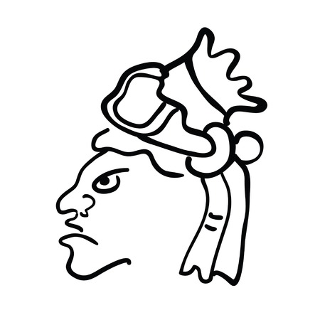 mesoamerican: Face in style of Maya Indians, vector illustration on white background