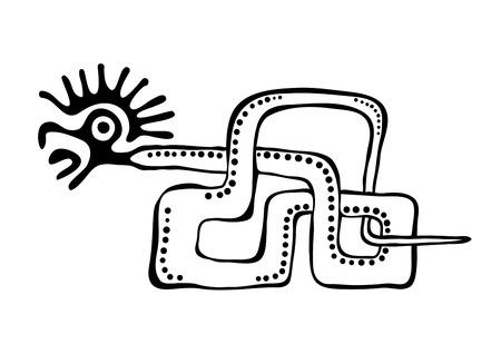 quetzalcoatl: vector snake in american indians style