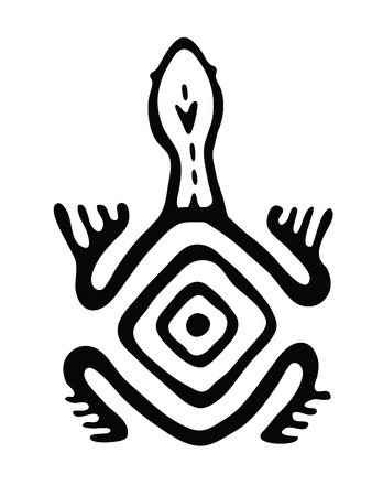 black turtle in native style, vector illustration Vector
