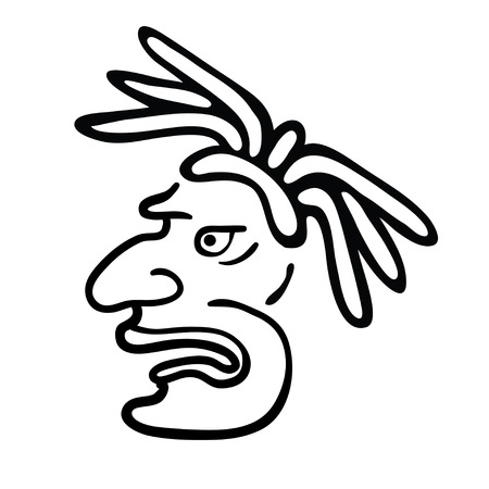 Face in style of Maya Indians