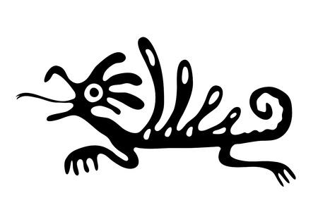 quetzalcoatl: Black lizard or dragon in native style