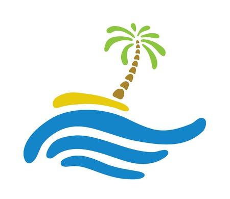 paradisiacal: Tropical palm on island with sea.