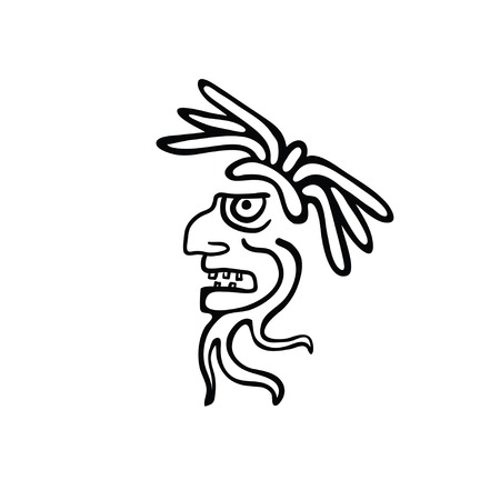 godhead: Face in style of Maya Indians, illustration on white background