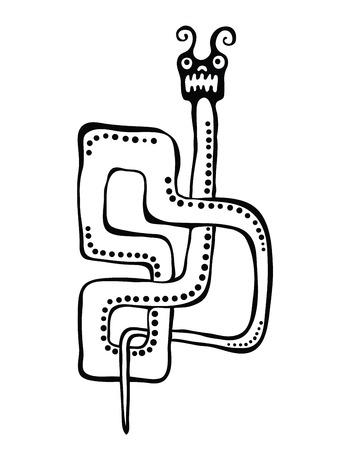 worm snake: Snake or worm in native style, illustration Illustration
