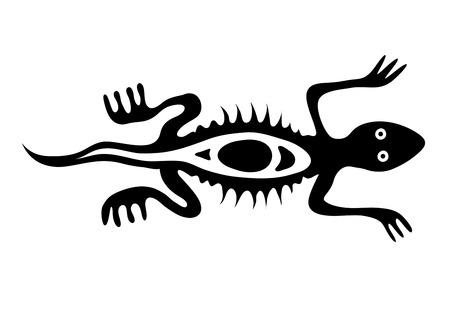 lizard in native style, illustration Vector