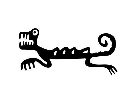 quetzalcoatl: Black lizard or dragon in native style, illustration