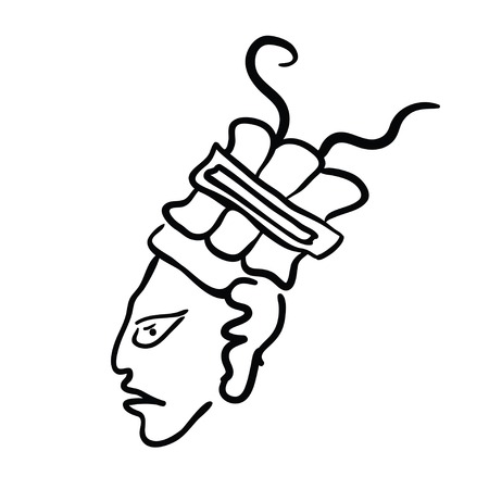 mesoamerican: Face in style of Maya Indians, illustration on white background