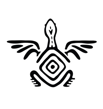 ancient turtles: black winged animal in native style Illustration