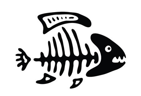 illustration of black fishbone: black fish bone, vector illustration Illustration