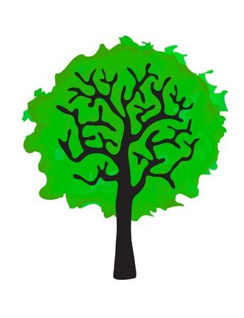 frondage: green tree isolated on white background, vector illustration