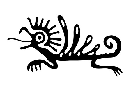 Black lizard or dragon in native style, vector illustration