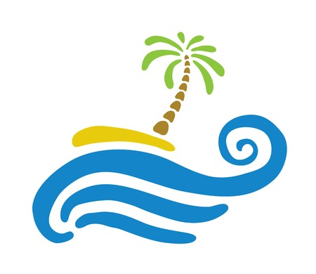 paradisiacal: Tropical palm on island with sea  Vector illustration