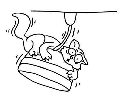 downy: Cat on a chandelier , vector illustration