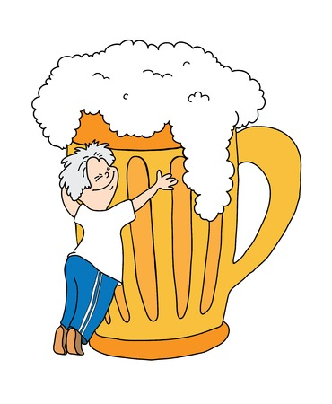 men bars: man hugging a mug of beer, cartoon vector illustration