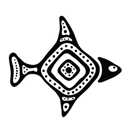 black fish in the native style illustration Vector